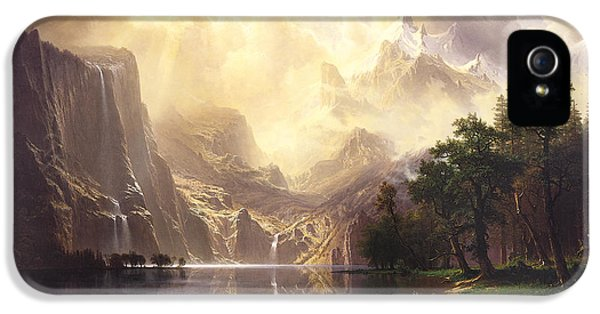 Smithsonian iPhone 5 Cases - Among The Sierra Nevada Mountains California iPhone 5 Case by Albert Bierstadt