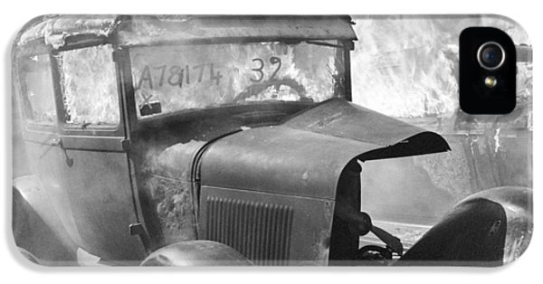 Corroded iPhone 5 Cases - Burning Car Circa 1942  iPhone 5 Case by Aged Pixel