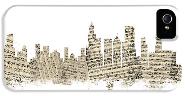 Chicago Skyline iPhone 5 Cases - Chicago Illinois Skyline Sheet Music Cityscape iPhone 5 Case by Michael Tompsett