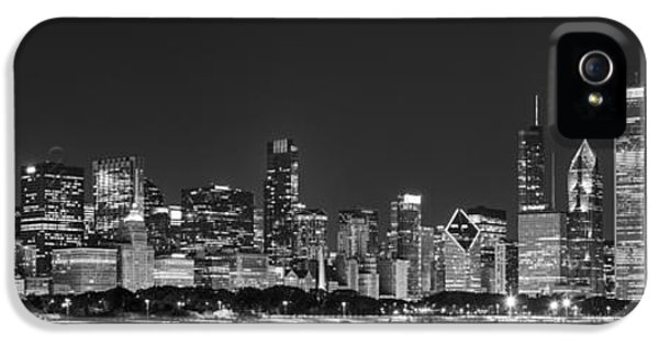 Lake Michigan iPhone 5 Cases - Chicago Skyline at Night Black and White Panoramic iPhone 5 Case by Adam Romanowicz