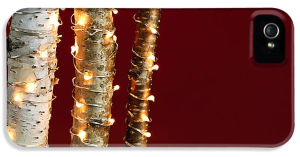 Wrapped iPhone 5 Cases - Christmas lights on birch branches iPhone 5 Case by Elena Elisseeva