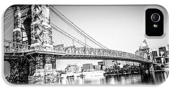 Cincinnati Roebling Bridge Black And White Picture IPhone 5 / 5s Case by Paul Velgos