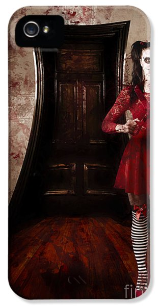 Haunted Houses iPhone 5 Cases - Creepy woman with bloody scissors in haunted house iPhone 5 Case by Ryan Jorgensen