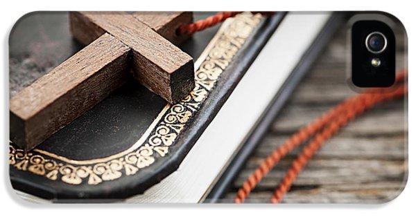 Religious iPhone 5 Cases - Cross on Bible iPhone 5 Case by Elena Elisseeva