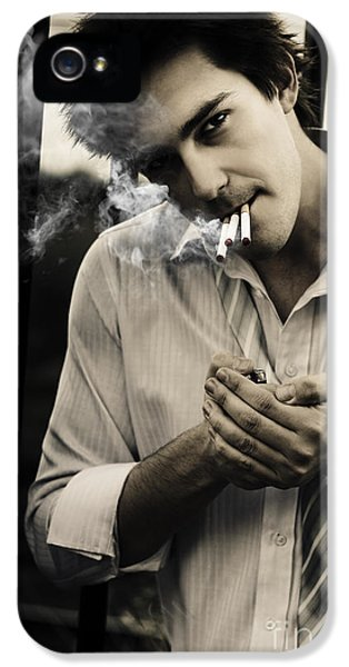 Nicotine iPhone 5 Cases - Depressed Business Man Smoking 3 Cigarettes iPhone 5 Case by Ryan Jorgensen
