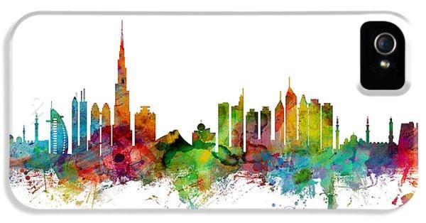 Arab iPhone 5 Cases - Dubai Skyline iPhone 5 Case by Michael Tompsett