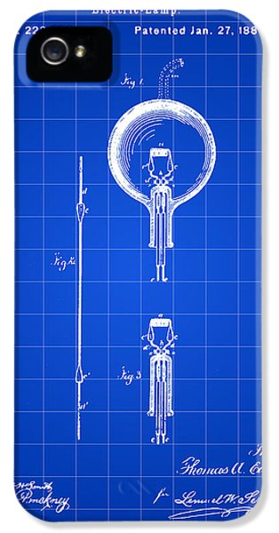 Electric Lamp (electric Light) iPhone 5 Cases - Edison Light Bulb Patent 1880 - Blue iPhone 5 Case by Stephen Younts
