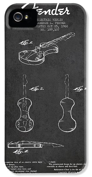 Electric Violin Patent Drawing From 1960 IPhone 5 / 5s Case by Aged Pixel