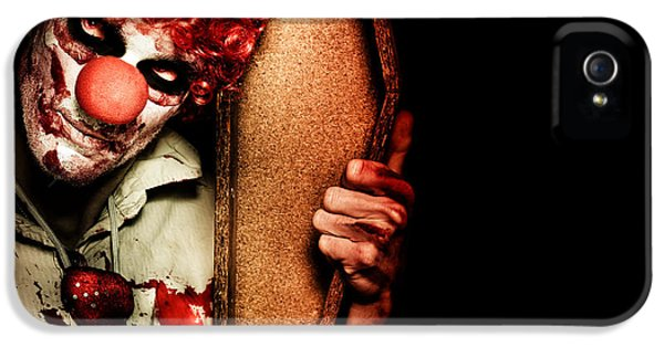 Grim Reaper iPhone 5 Cases - Evil Horrible Clown Holding Coffin In Darkness iPhone 5 Case by Ryan Jorgensen