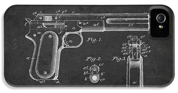 Guns iPhone 5 Cases - Firearm Patent Drawing from 1897 - Dark iPhone 5 Case by Aged Pixel