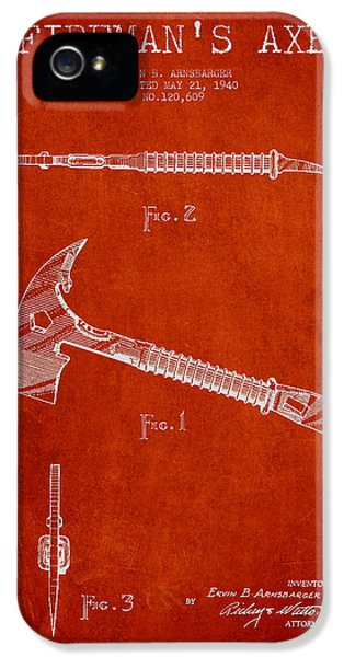 Fireman Axe Patent Drawing From 1940 IPhone 5 / 5s Case by Aged Pixel