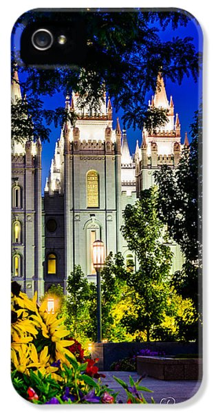 Slc iPhone 5 Cases - Flowers SLC Temple Night iPhone 5 Case by La Rae  Roberts