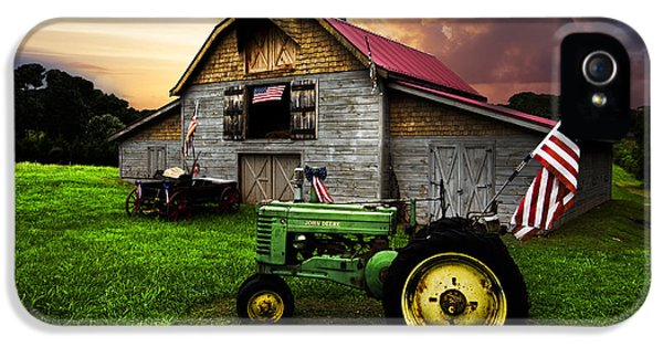 Tractor iPhone 5 Cases - God Bless America iPhone 5 Case by Debra and Dave Vanderlaan