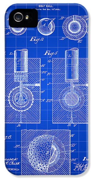 Patent iPhone 5 Cases - Golf Ball Patent 1902 - Blue iPhone 5 Case by Stephen Younts