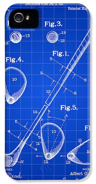 Golf Club Patent 1909 - Blue IPhone 5 / 5s Case by Stephen Younts