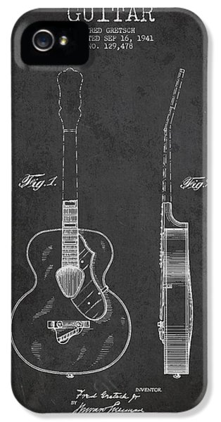Acoustic iPhone 5 Cases - Gretsch guitar patent Drawing from 1941 - Dark iPhone 5 Case by Aged Pixel