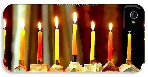 Hanukkah iPhone 5 Cases - Happy Hanukkah 5 iPhone 5 Case by Fraida Gutovich