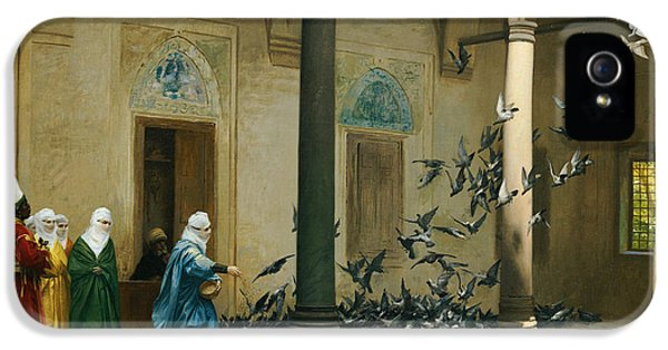 Feeding iPhone 5 Cases - Harem Women Feeding Pigeons in a Courtyard iPhone 5 Case by Jean Leon Gerome