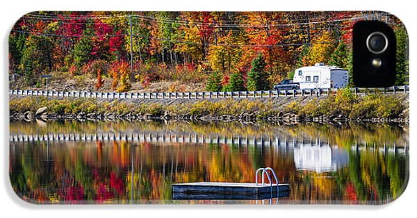 Trailer iPhone 5 Cases - Highway through fall forest iPhone 5 Case by Elena Elisseeva
