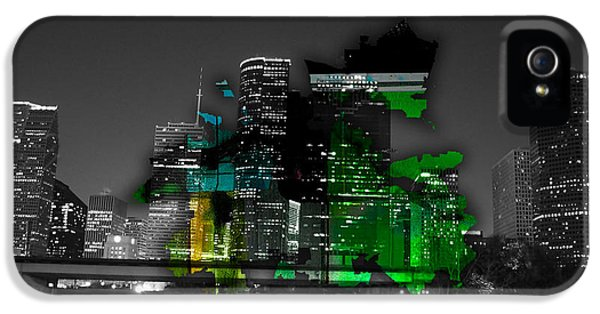 Houston Texas Map And Skyline Watercolor IPhone 5 / 5s Case by Marvin Blaine