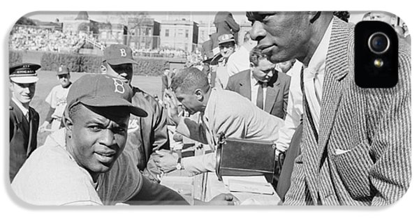 Wrigley Field iPhone 5 Cases - Jackie Robinson and Nat King Cole at Wrigley Field iPhone 5 Case by The Phillip Harrington Collection