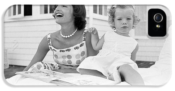 First Lady iPhone 5 Cases - Jacqueline and Caroline Kennedy at Hyannis Port 1959 iPhone 5 Case by The Phillip Harrington Collection