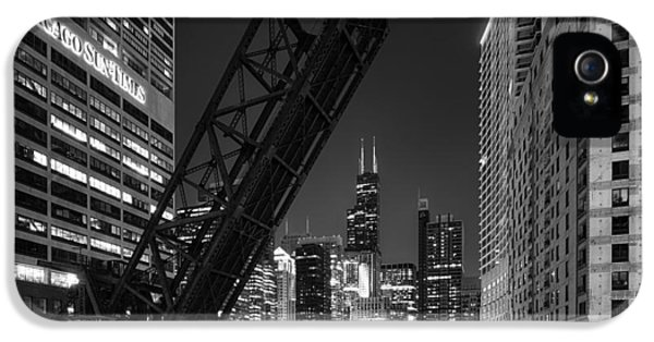 Black iPhone 5 Cases - Kinzie Street railroad bridge at night in Black and White iPhone 5 Case by Sebastian Musial