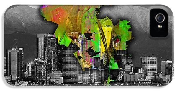 Los Angeles Map And Skyline Watercolor IPhone 5 / 5s Case by Marvin Blaine