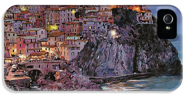 Romantic iPhone 5 Cases - Manarola at dusk iPhone 5 Case by Guido Borelli