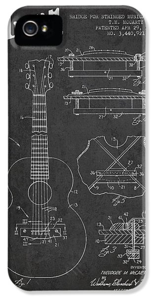 Acoustic iPhone 5 Cases - Mccarty Gibson stringed instrument patent Drawing from 1969 - Dark iPhone 5 Case by Aged Pixel