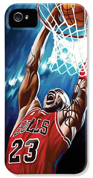 Nba iPhone 5 Cases - Michael Jordan Artwork iPhone 5 Case by Sheraz A