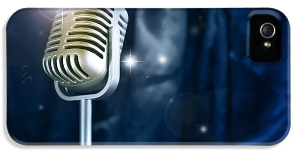 Speech iPhone 5 Cases - Microphone iPhone 5 Case by Les Cunliffe