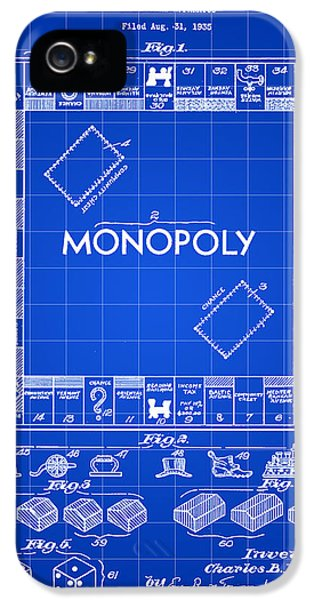 Blueprint iPhone 5 Cases - Monopoly Patent 1935 - Blue iPhone 5 Case by Stephen Younts