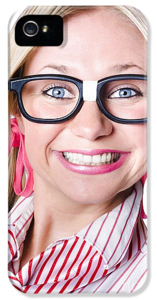 Exuberance iPhone 5 Cases - Nerdy businesswoman with a cheeky grin iPhone 5 Case by Ryan Jorgensen