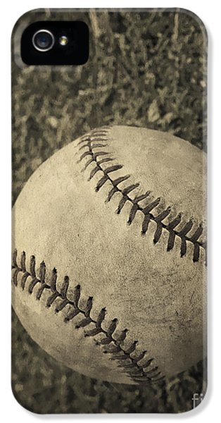 Field iPhone 5 Cases - Old Baseball iPhone 5 Case by Edward Fielding