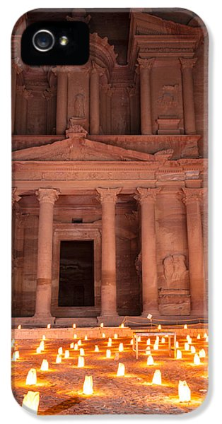 Al-khazneh iPhone 5 Cases - Petra by night iPhone 5 Case by Alexey Stiop