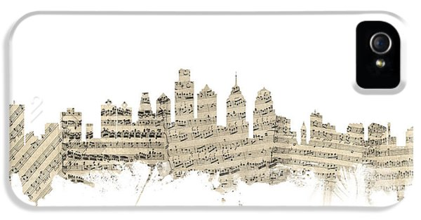 Philadelphia iPhone 5 Cases - Philadelphia Pennsylvania Skyline Sheet Music Cityscape iPhone 5 Case by Michael Tompsett