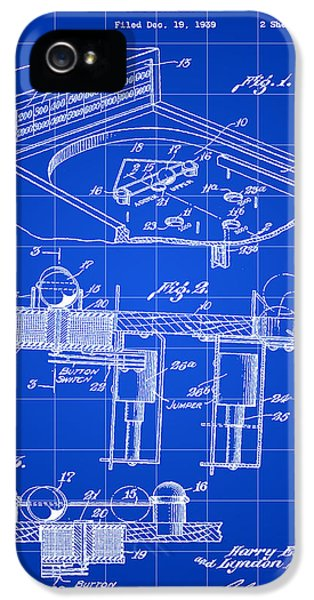 Pinball Machine Patent 1939 - Blue IPhone 5 / 5s Case by Stephen Younts