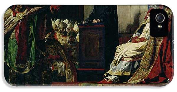 Macabre iPhone 5 Cases - Pope Formosus and Pope Stephen VI iPhone 5 Case by Jean Paul Laurens