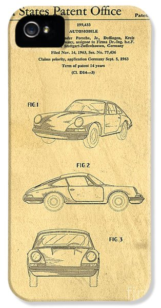 Original Porsche 911 iPhone 5 Cases - Porsche 911 Carrera 1964 Patent Art  iPhone 5 Case by Edward Fielding