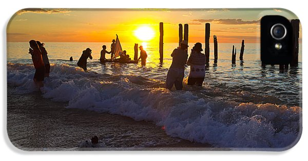 Ruins iPhone 5 Cases - Port Willunga Jetty Ruins iPhone 5 Case by Bill  Robinson