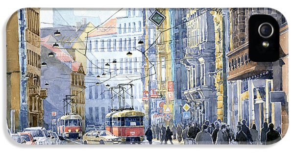 Old Tram iPhone 5 Cases - Prague Vodickova str  iPhone 5 Case by Yuriy  Shevchuk