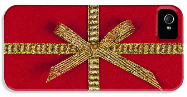 Knot iPhone 5 Cases - Red gift with gold ribbon iPhone 5 Case by Elena Elisseeva