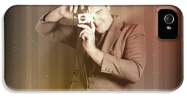 Grunge Style iPhone 5 Cases - Retro photographer man taking photo with camera iPhone 5 Case by Ryan Jorgensen