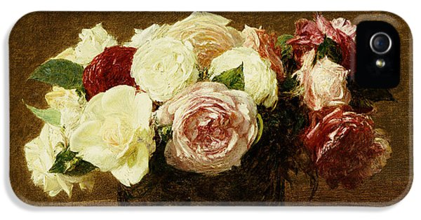 Flower iPhone 5 Cases - Roses iPhone 5 Case by Ignace Henri Jean Fantin-Latour