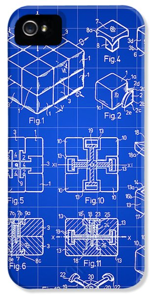 Puzzles iPhone 5 Cases - Rubiks Cube Patent 1983 - Blue iPhone 5 Case by Stephen Younts