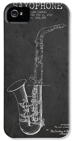 Saxophone Patent Drawing From 1937 - Dark IPhone 5 / 5s Case by Aged Pixel
