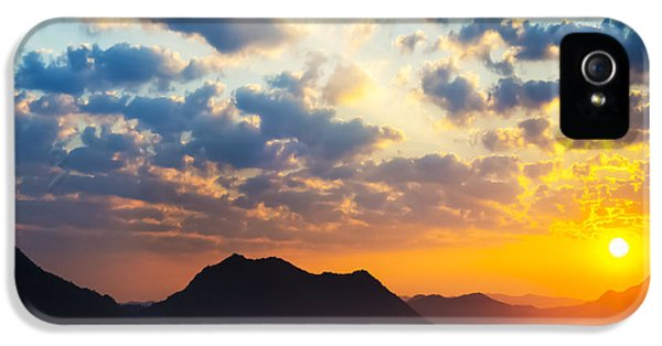 Sun iPhone 5 Cases - Sea of clouds on sunrise with ray lighting iPhone 5 Case by Setsiri Silapasuwanchai
