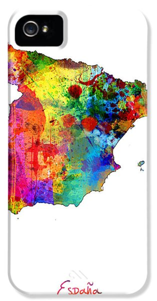 Spain iPhone 5 Cases - Spain Watercolor Map iPhone 5 Case by Michael Tompsett