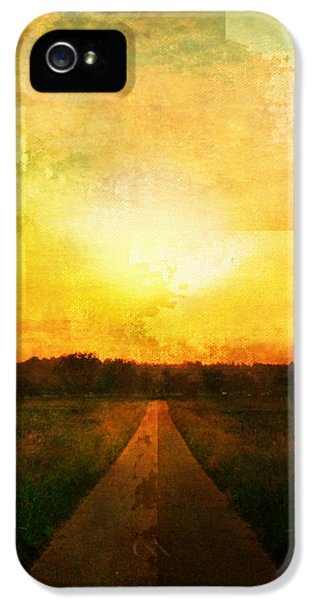 Epic Amazing Colors Landscape Digital Modern Still Life Trees Warm Natural Earth Organic Paint Photo Chic Decor Interior Design Brett Pfister Art Digital Art iPhone 5 Cases - Sunset Road iPhone 5 Case by Brett Pfister